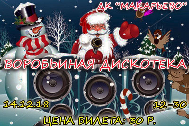 14 декабрь Новогодняя «Воробьиная дискотека» в ДК «Макарьево»
